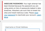 Example of WordFence Insecure Password error screen