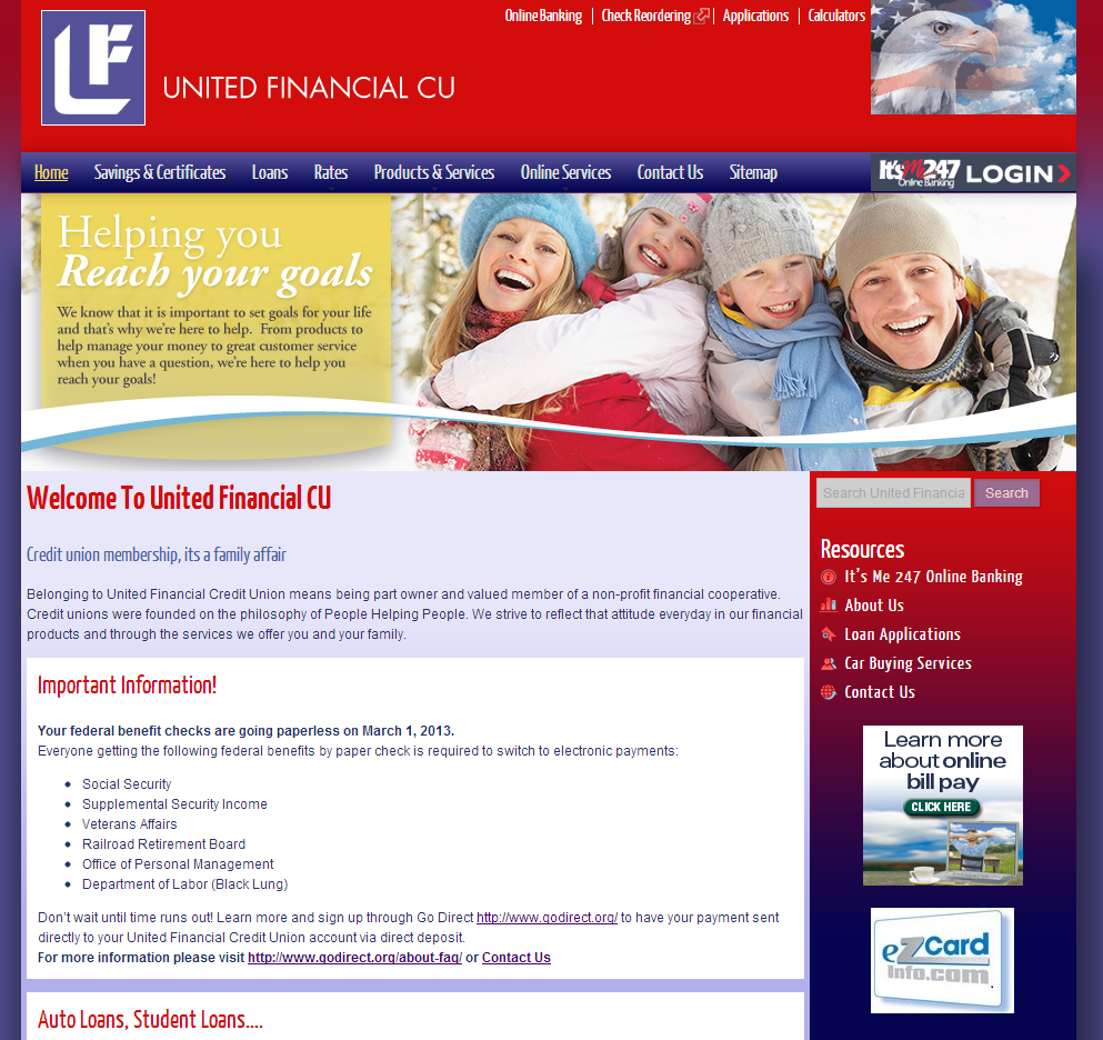 united financial credit union online